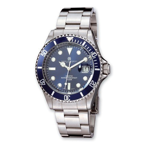 Mens Charles Hubert Stainless Steel Blue Dial Diver Watch