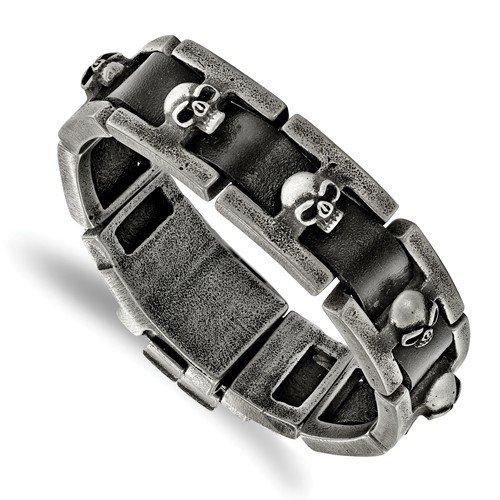 Stainless Steel Brushed Antiqued Skull Black Leather Bracelet