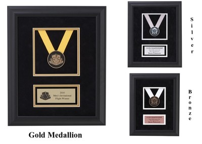 Framed and Matted Etched Medallion Plaque - 4 Sizes