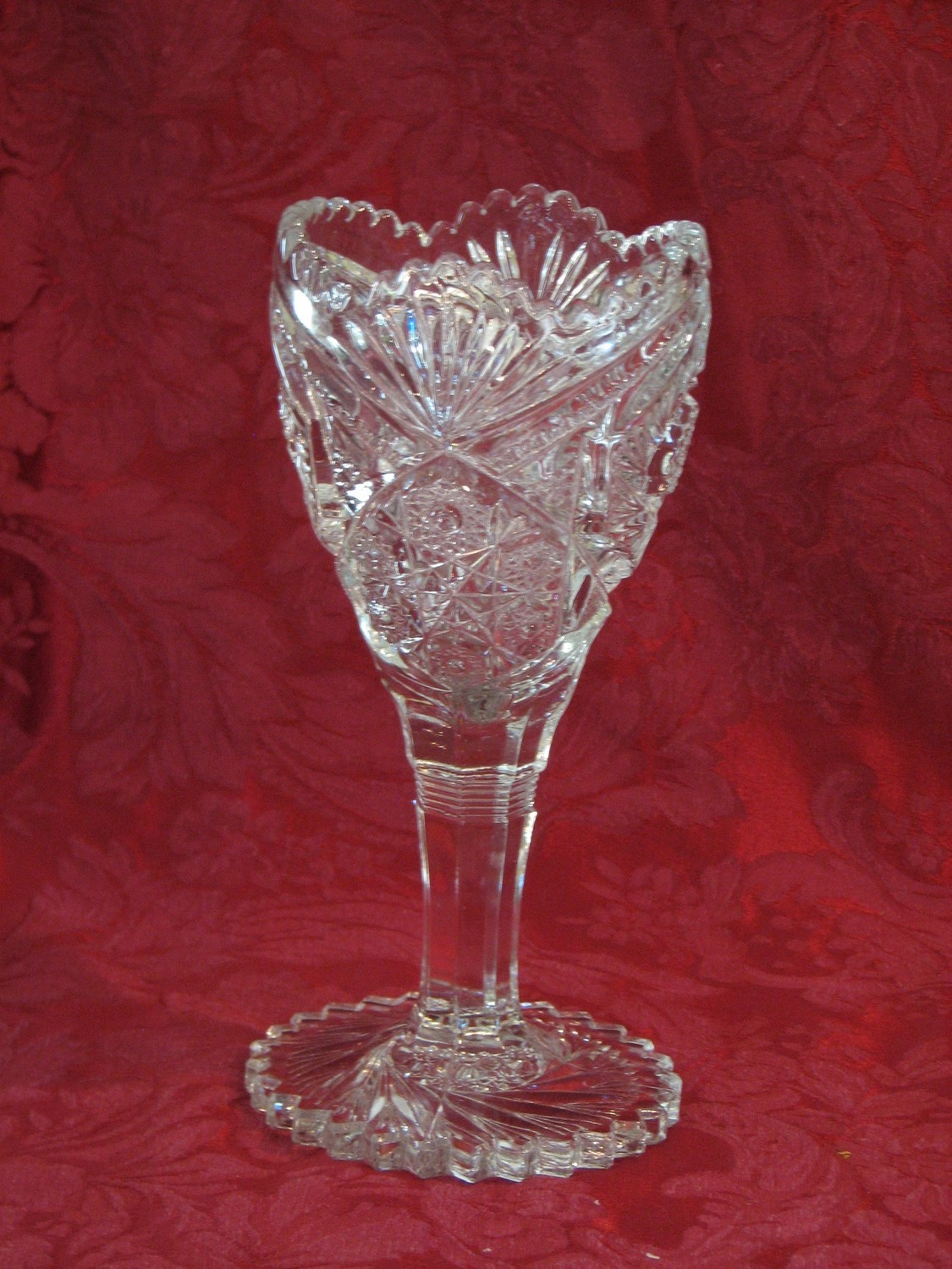 EAPG Vintage Buzz Saw Sawtooth Pinwheel Glass LARGE Hobstar Goblet Stemmed Vase
