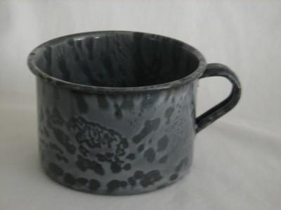Enamel Ware Grey Mottled Coffee Cup