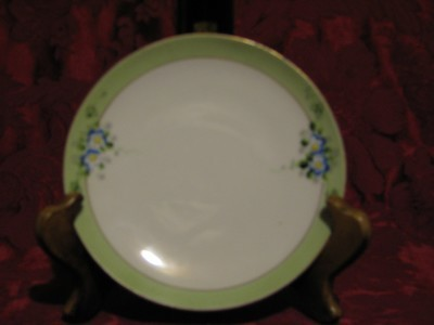 Meito China, Bread & Butter Plate, Gold Trim w/Light Green Outer rim & Floral Design