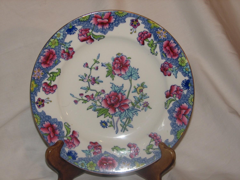 """Spode RARE 1900's Regal Copeland 8.25"""" Rim Soup Bowl Creamware Blue Pink Flowers"""