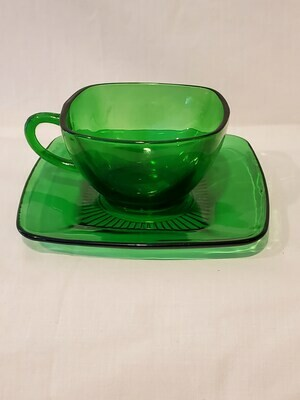 Anchor Hocking Charm Forest Green Cup & Saucer