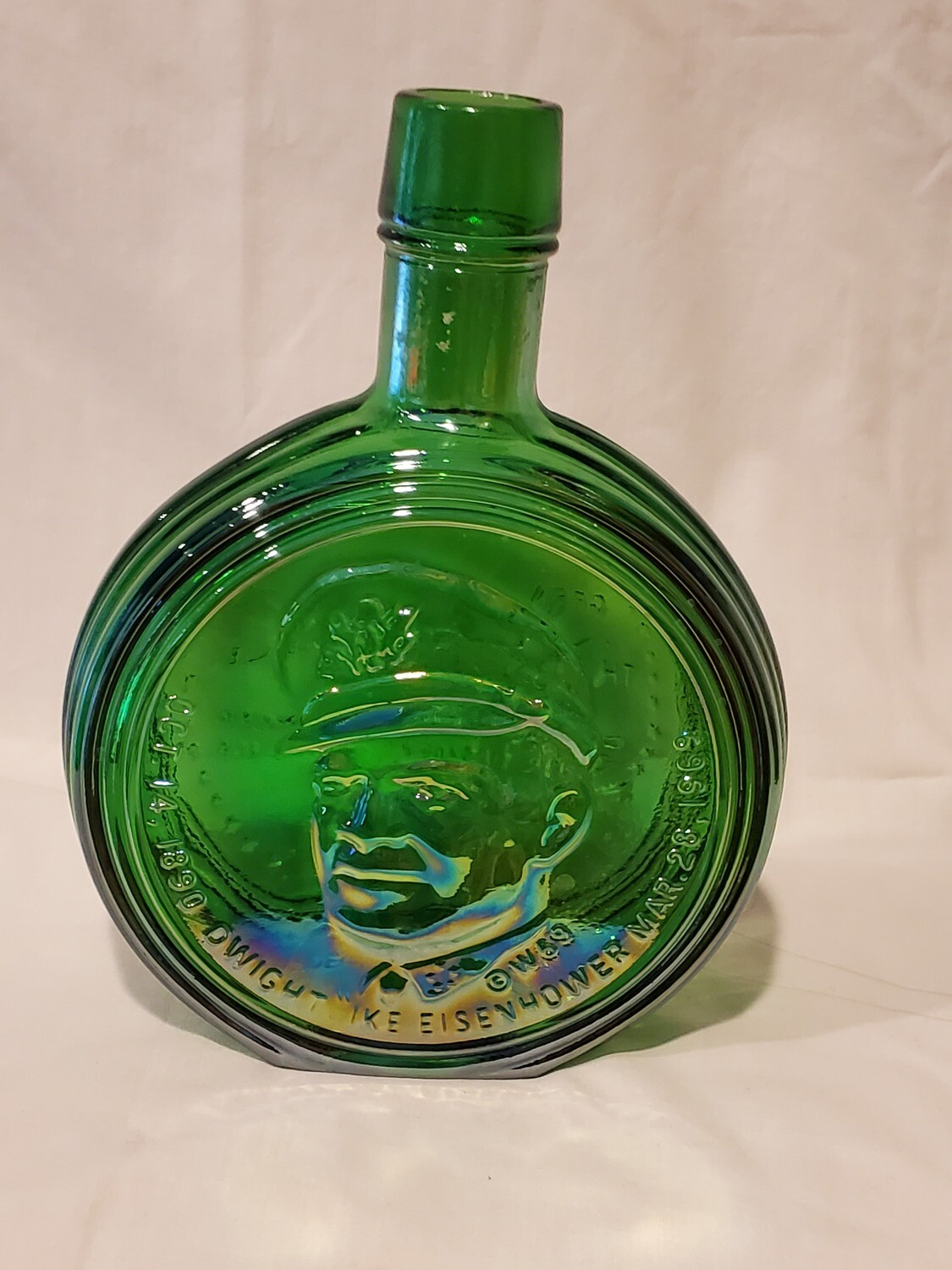 Wheaton Presidential Decanter, Dwight Eisenhower, W69, Iridescent Green
