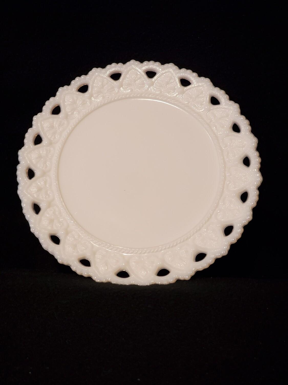"""Kemple Milk Glass, Bread & Butter Plate 7 1/4"""" W, Beaded Heart Open Lace pattern."""