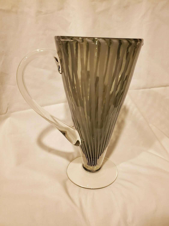 Murano Martini Pitcher, Hand Blown, Grey Striped, Light Smoke Glass