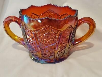 Indiana Glass, Open Sugar, Heirloom Sunset Carnival, 3 3/4