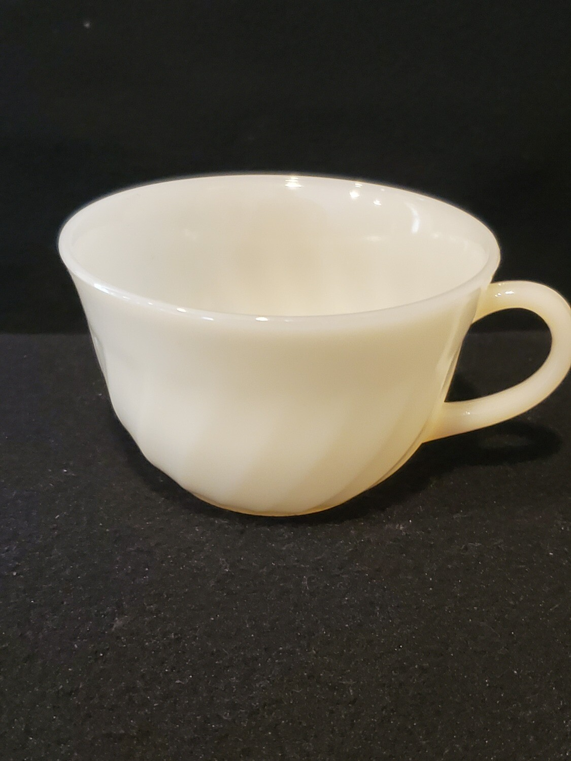 "Fire King by Anchor Hocking Swirl Ivory White Cup 2 3/8"" H."