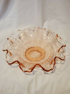 Floral Ruffled Tulip Design Bowl, Pink Depression Glass, 8 1/2