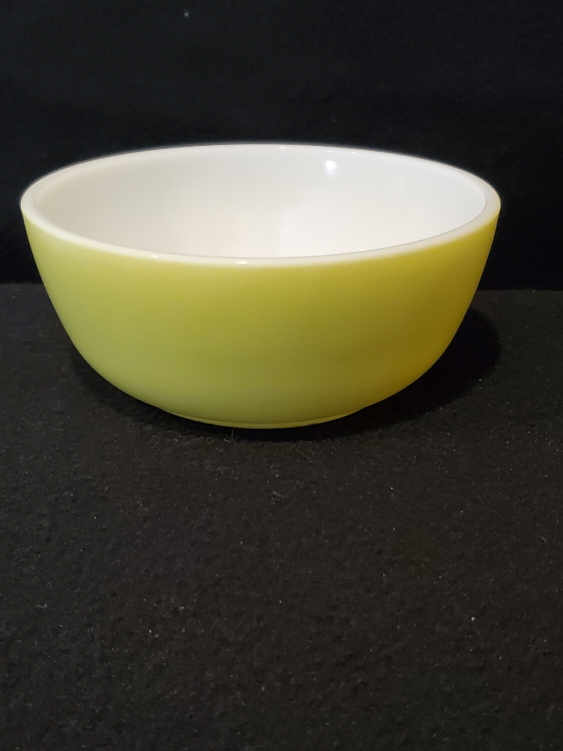 """Hazel Atlas Cereal or Soup Bowl, Fired On Lime Green, 4 7/8"""" W."""
