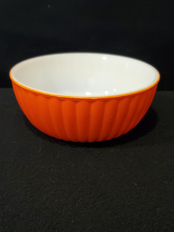 """Hazel Atlas Cereal or Soup Bowl, Fired On Orange Ribbed, 4 7/8"""" W."""