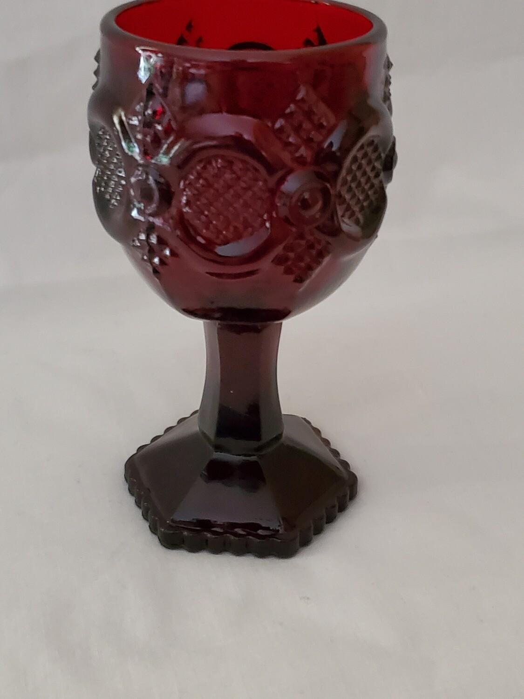"Cape Cod Ruby Wine Glass, by Avon, 4 5/8"""
