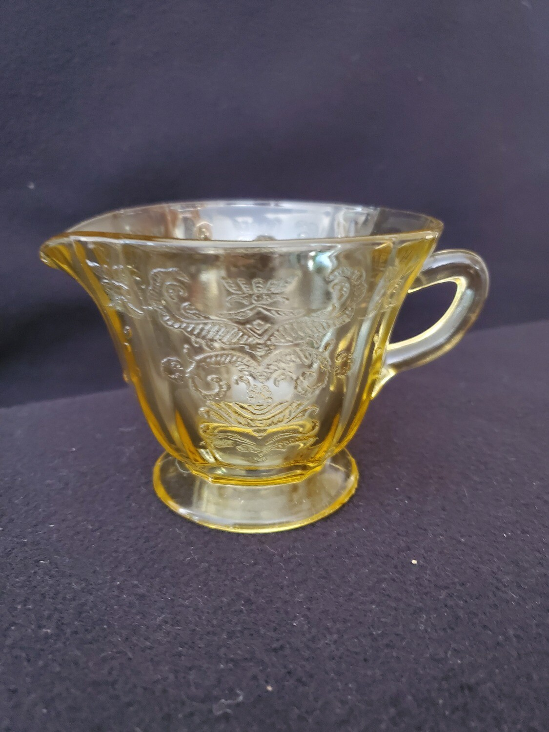Vintage Amber Yellow Depression Glass, Creamer, Madrid Pattern by Federal Glass. 3 1/4""