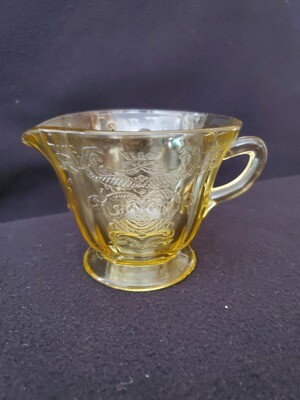 Vintage Amber Yellow Depression Glass, Creamer, Madrid Pattern by Federal Glass. 3 1/4