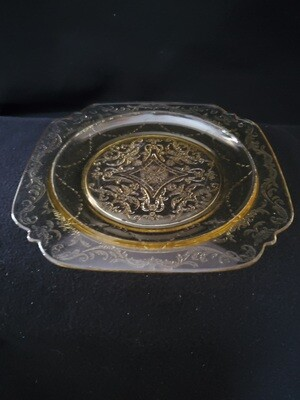 Vintage Madrid Amber Depression Glass, Luncheon Plate 8 7/8