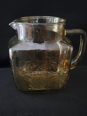 Vintage, 36 oz. Pitcher, Madrid Amber Depression Glass by Federal Glass