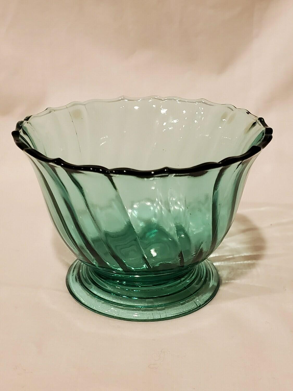 """Swirl Ultramarine (Blue Green) Footed Tall Sherbet, 2 5/8"""" by Jeannette"""