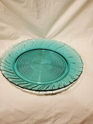 Swirl Ultramarine (Blue Green) Scalloped Dinner Plate 9 1/8
