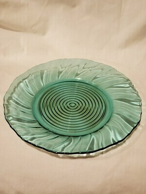 Swirl Ultramarine (Blue Green) Scalloped Sandwich Plate 13 1/4