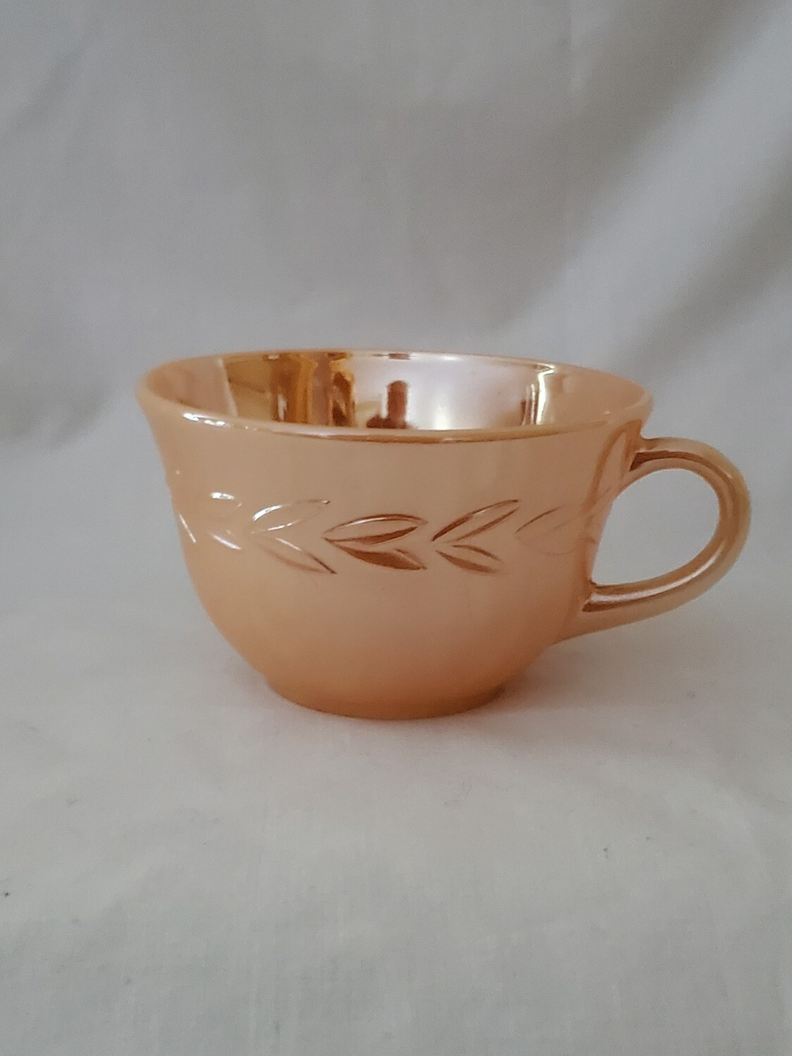 """Fire King by Anchor Hocking-Cryst, Peach Lustre Laurel Coffee Cup, 2 3/8"""""""