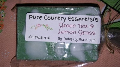 Pure Country Essentials Soap, Shea & Oatmeal, Green Tea & Lemon Grass Fragrance, Rectangle