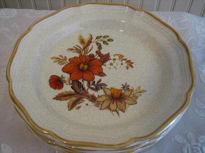 Mikasa Dinner Plates, Garden Club, Harvest Bouquet # EC 455, 10.75