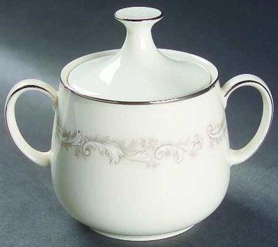 Noritake Ivory China, Sugar Bowl with Lid, Marquis 7540