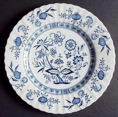 J & G Meakin, Desert Pie Plate, Blue Nordic Onion Pattern