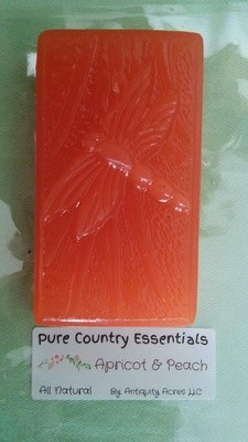 Pure Country Essentials Soap, Carrot Cucumber & Aloe Vera, Apricot & Peach Fragrance, Rectangle Dragonfly Design