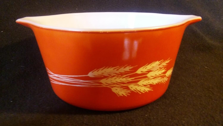 Pyrex, Tab Handle Casserole 1 qt, Autumn Harvest Wheat Pattern 473-B