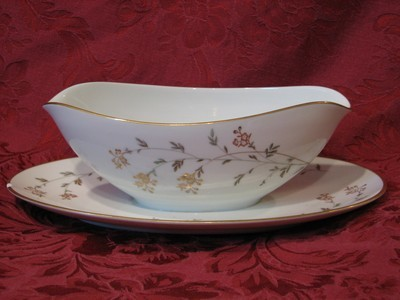 Noritake China Gravy Boat W/Attached Underplate, Andrea Pattern #5524