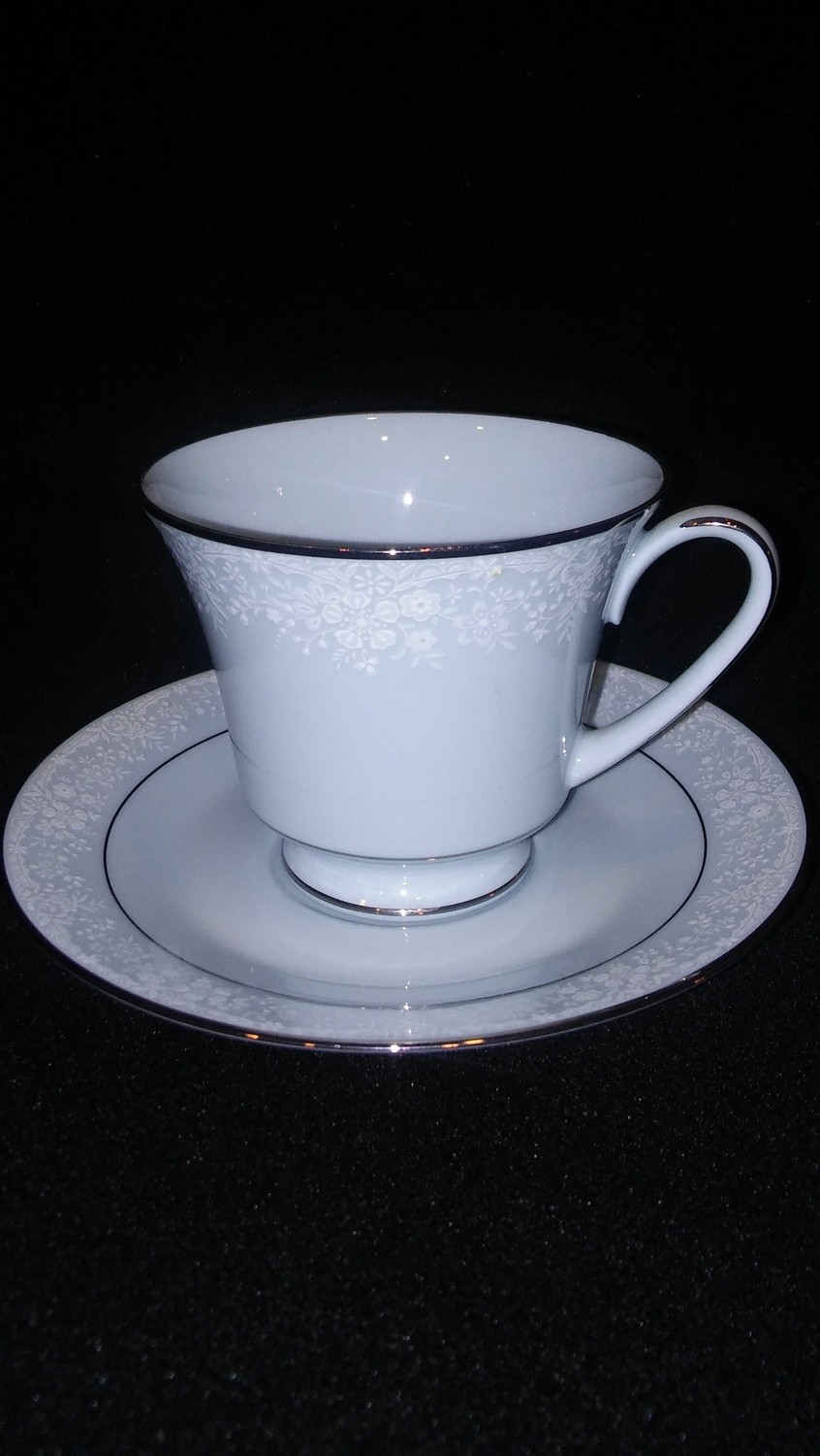 Noritake China, Fidelity Pattern #8003W81, Footed Cup & Saucer Set