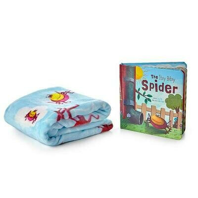 Itsy Bitsy Spider Traditional Nursery Rhyme Book and Personalized Embroidered Blanket Children Gift Set