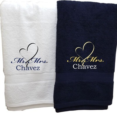 His Hers Couples Towel Set Two Piece Personalized Embroider Names Mr Mrs and Heart (White Navy Blue)