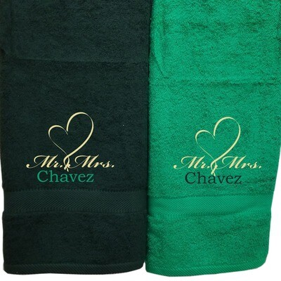His Hers Couples Towel Set Two Piece Personalized Embroider Names Mr Mrs and Heart (Hunter Green Kelly Green)