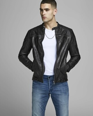 JACK&JONES JJELIAM LEATHER JACKET BLACK