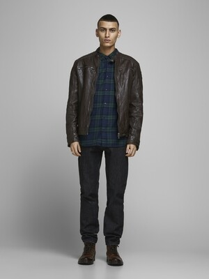 JACK&JONES JJELIAM LEATHER JACKET BROWN STONE