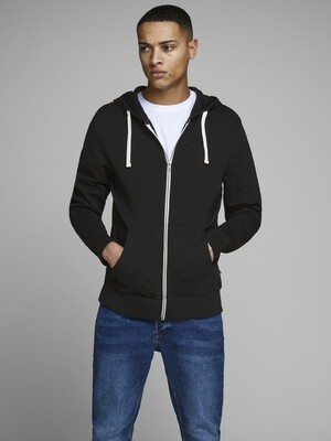 JACK&JONES JJEHOLMEN SWEAT ZIP HOOD BLACK
