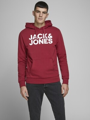 JACK&JONES JJECORP LOGO SWEAT HOOD RIO RED