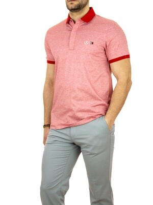 TOMMY MERCEDES BENZ 2 MB TECH MINI STRIPE SLIM POLO PRIMARY RED