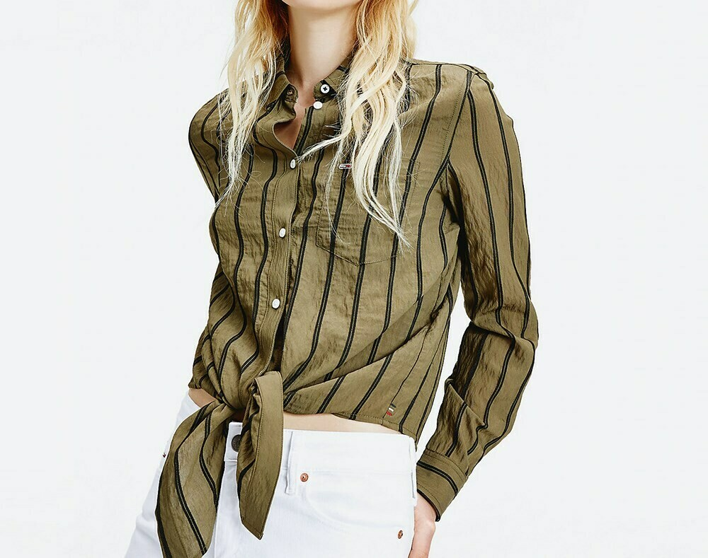 TOMMY TJW FRONT KNOT SHIRT OLIVE TREE/BLACK