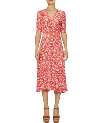 TOMMY LEONORA WRAP DRESS LS