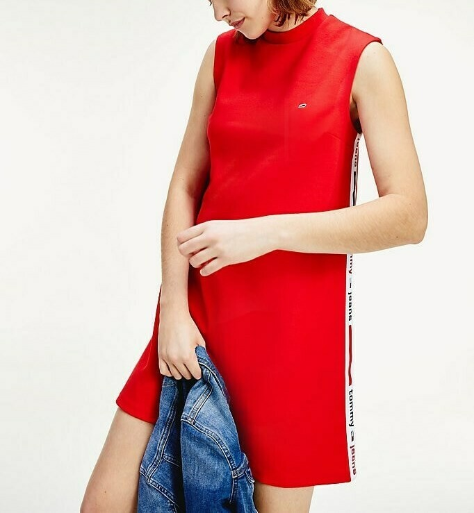 TOMMY TJW TAPE DETAIL A-LINE DRESS DEEP CRIMSON