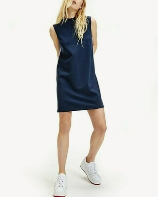 TOMMY TJW TAPE DETAIL A-LINE DRESS TWILIGHT NAVY
