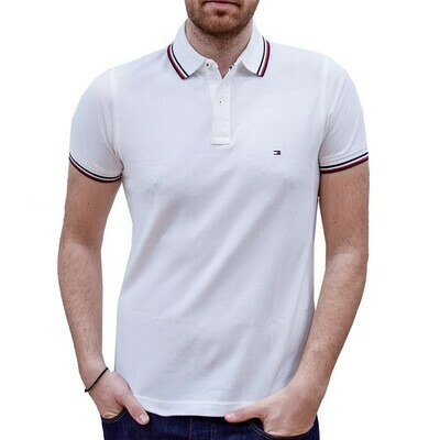 TOMMY TIPPED SLIM POLO WHITE