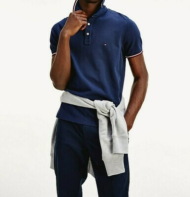 TOMMY TIPPED SLIM POLO PITCH BLUE