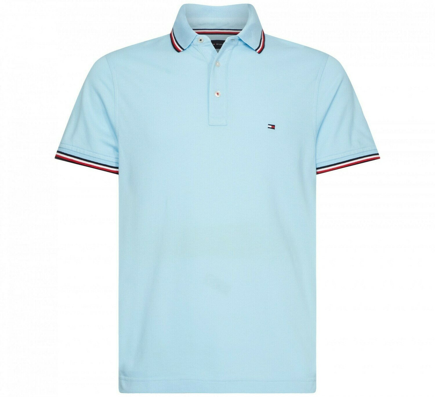 TOMMY TIPPED SLIM POLO SAIL BLUE