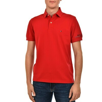 TOMMY  LOGO REGULAR POLO PRIMARY RED