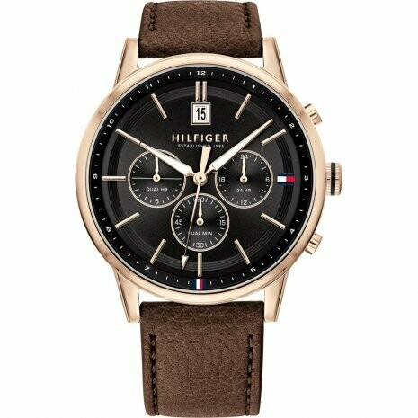 TH ROSE GOLD BROWN LEATHER STRAP WATCH
